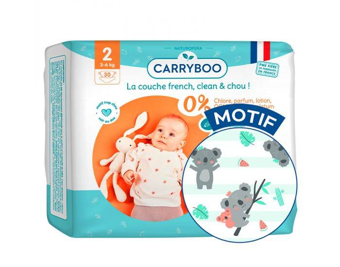 CARRYBOO Pack X3 - Couches Ecologiques French, Clean et Chou T2 / 3-6 Kg / 3X30 couches