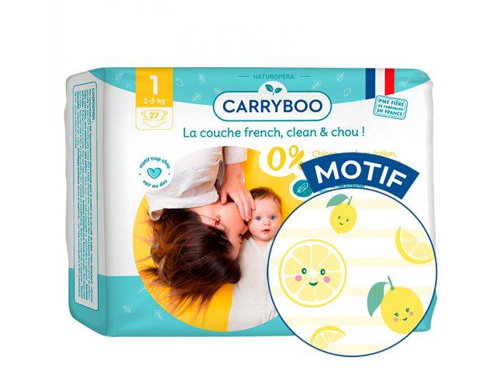 CARRYBOO Couches Ecologiques French, Clean et Chou T1 / 2-5 Kg / 27 couches