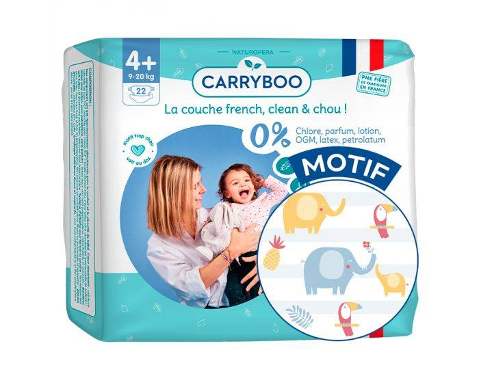CARRYBOO Couches Ecologiques French, Clean et Chou T4+ / 9-20 Kg / 22 couches