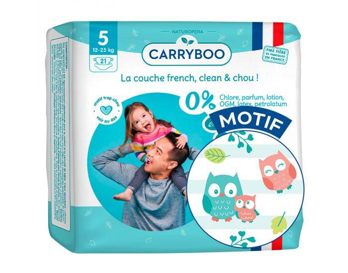 CARRYBOO Couches Ecologiques French, Clean et Chou T5 / 12-25Kg /  21 couches