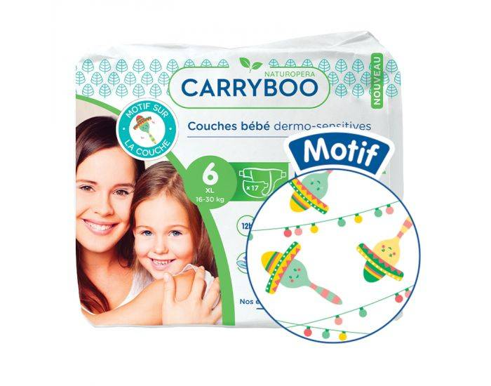 CARRYBOO Couches Ecologiques French, Clean et Chou T6 / 16-30Kg / 17 couches