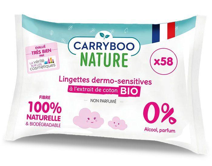 CARRYBOO Lingettes Dermo-Sensitives Sans Parfum à l'Extrait de Coton Bio -3x58 Lingettes