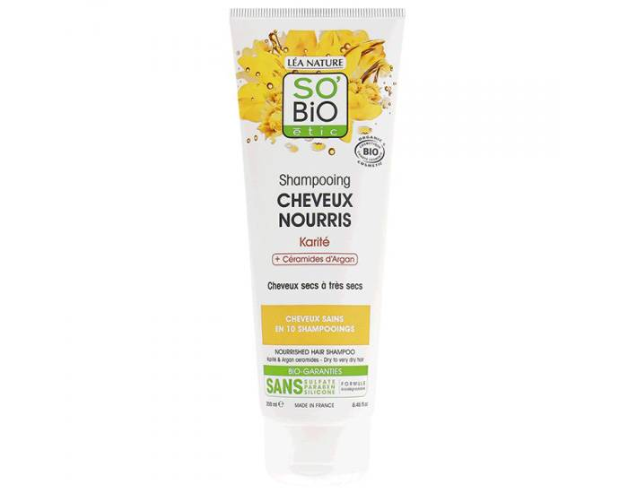 SO'BIO Shampooing Cheveux Nourris Karité et Céramides d'Argan - 250 ml
