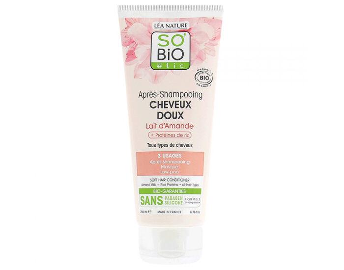 SO'BIO Après-Shampooing Cheveux Doux Lait d'Amande et Protéïnes de Riz - 200 ml