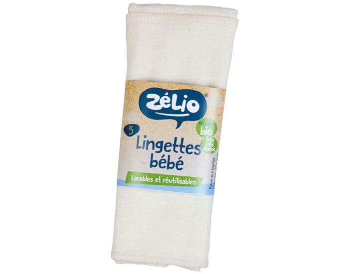 ZéLIO ZELIO Lingettes Lavables Bébé en Coton Bio - 22 x 22 cm - Lot de 5