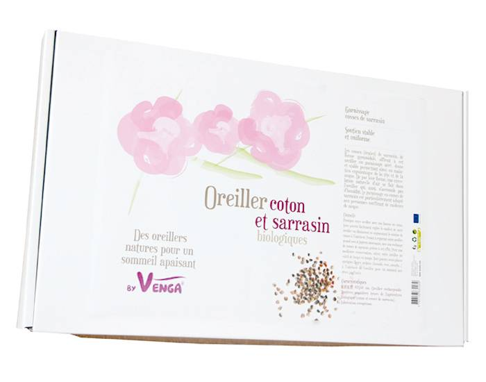 BY VENGA Oreiller Sarrasin et Coton Bio - 40 x 60 cm