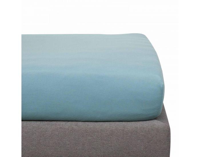 KADOLIS Drap Housse Coton Bio - Enfant Bleu 90 x 200 cm