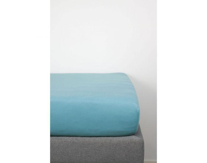 KADOLIS Drap housse COTON BIO - pour lit Bébé Bleu 70 x 140 cm
