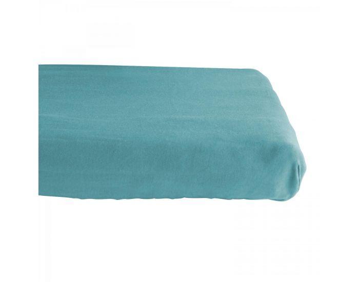 KADOLIS Drap housse COTON BIO - pour lit Bébé Bleu 60 x 140 cm