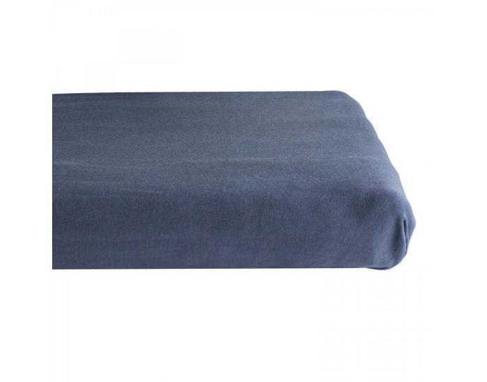 KADOLIS Drap housse COTON BIO - pour lit Bébé Bleu marine 60 x 140 cm