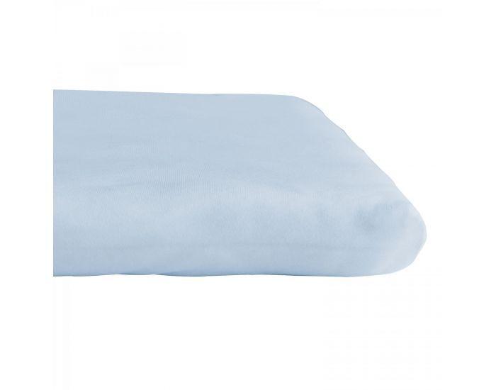 KADOLIS Drap housse COTON BIO - pour lit Bébé Bleu pastel 60 x 140 cm