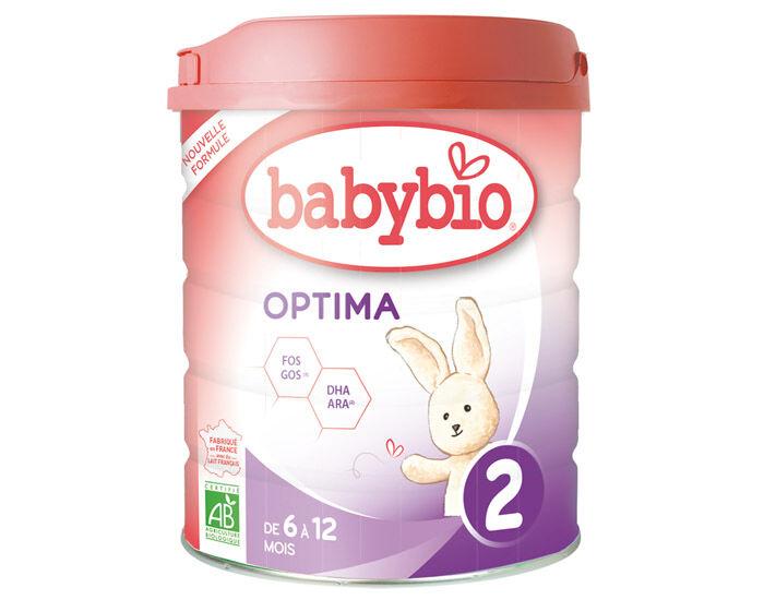 BABYBIO Pack x6 Lait de Suite 2 Optima - Dès 6 mois - 800 g