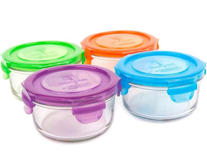 WEANGREEN 4 Pots de Conservation Repas Bébé en Verre - 400 ml