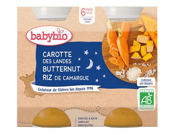 BABYBIO Petits Pots Bonne Nuit - 2x200g - Dès 6 mois Carotte des Landes, Butternut et Riz de Camargue - 6 M