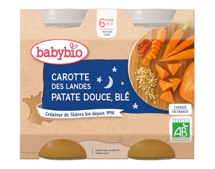 BABYBIO Petits Pots Bonne Nuit - 2x200g - Dès 6 mois Carotte des Landes, Patate Douce et Blé - 6 M