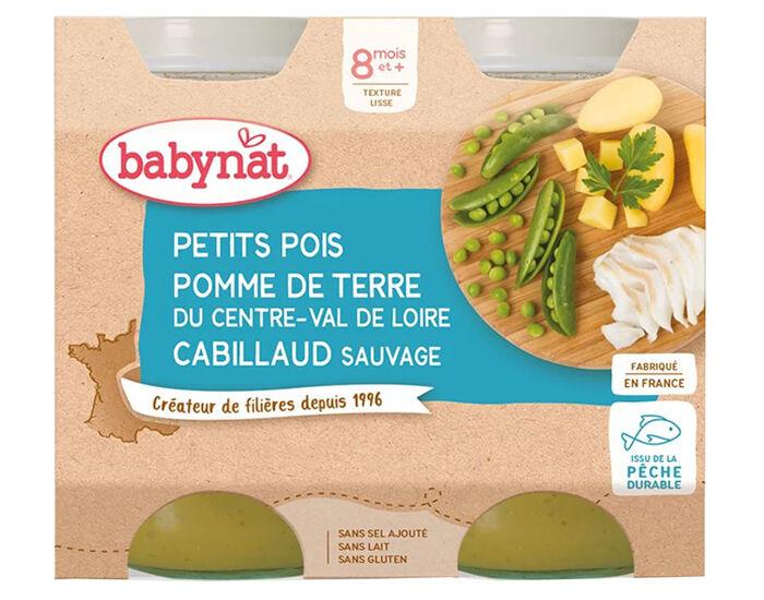 BABYBIO Petits Pots Menu du Jour - 2x200g - Dès 8 mois Petits Pois, PDT et Cabillaud - 8 mois
