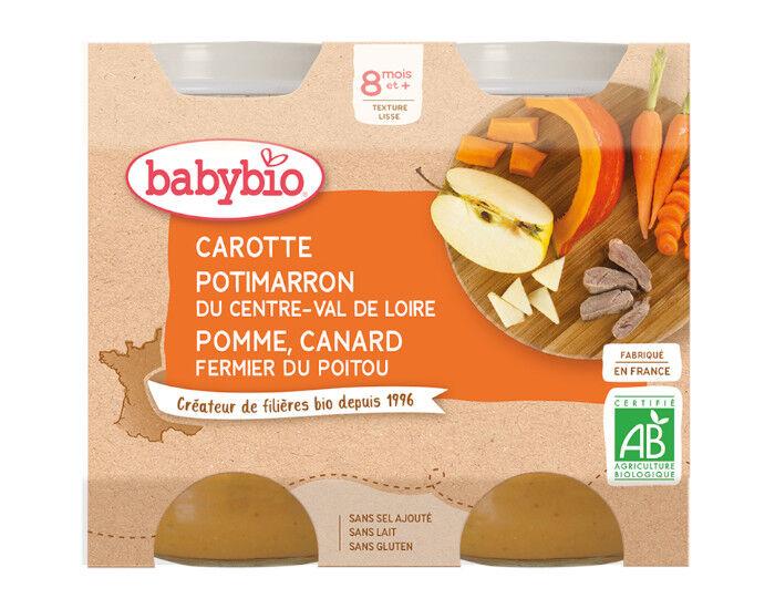 BABYBIO Petits Pots Menu du Jour - 2x200g - Dès 8 mois Carotte, Potimarron, Pomme et Canard Fermier - 8 mois