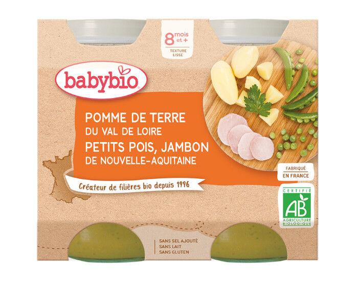 BABYBIO Petits Pots Menu du Jour - 2x200g - Dès 8 mois PDT, Petits Pois et Jambon des Pays de Loire - 8 mois