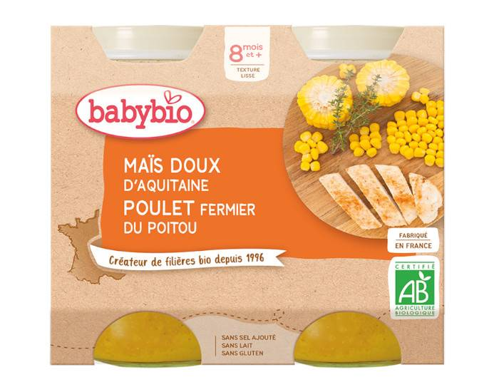 BABYBIO Petits Pots Menu du Jour - 2x200g - Dès 8 mois Maïs Doux et Poulet Fermier du Poitou - 8 mois