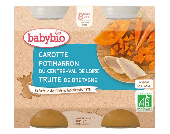 BABYBIO Petits Pots Menu du Jour - 2x200g - Dès 8 mois Carotte des Landes, Potimarron et Truite - 8 mois
