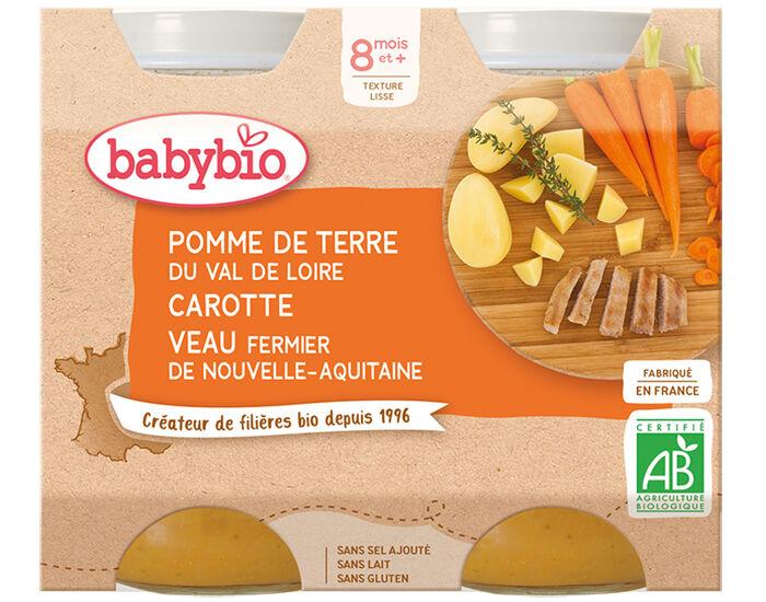 BABYBIO Petits Pots Menu du Jour - 2x200g - Dès 8 mois PDT, Carotte et Veau Fermier d'Aquitaine et du Limousin - 8 mois