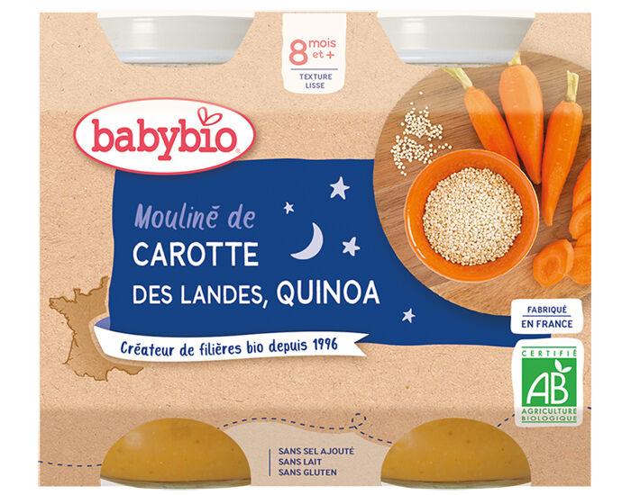BABYBIO Petits Pots Menu du Jour - 2x200g - Dès 8 mois Mouliné de Carotte des Landes et Quinoa - 8 mois