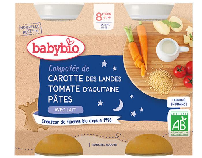 BABYBIO Petits Pots Menu du Jour - 2x200g - Dès 8 mois Compotée de Carotte, Tomate et Pâtes - 8 mois