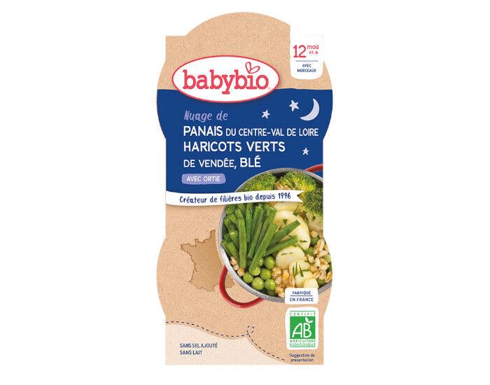 BABYBIO Bols Bonne Nuit - 2 x 200 g Haricots Verts de Vendée - Panais - Blé - 12 mois