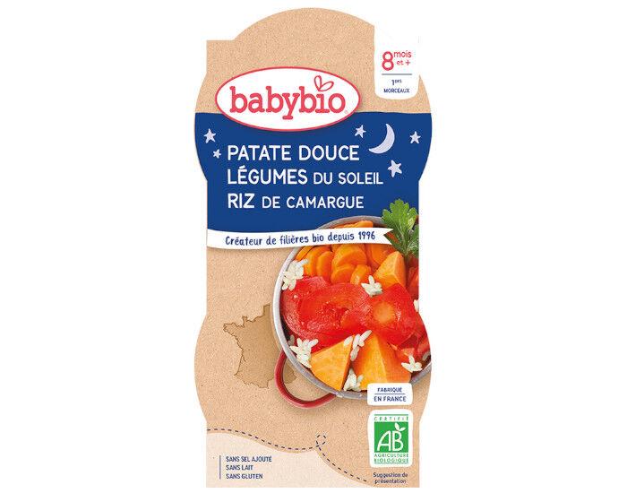 BABYBIO Bols Bonne Nuit - 2 x 200 g Patates Douces - Légumes du Soleil - 8 mois