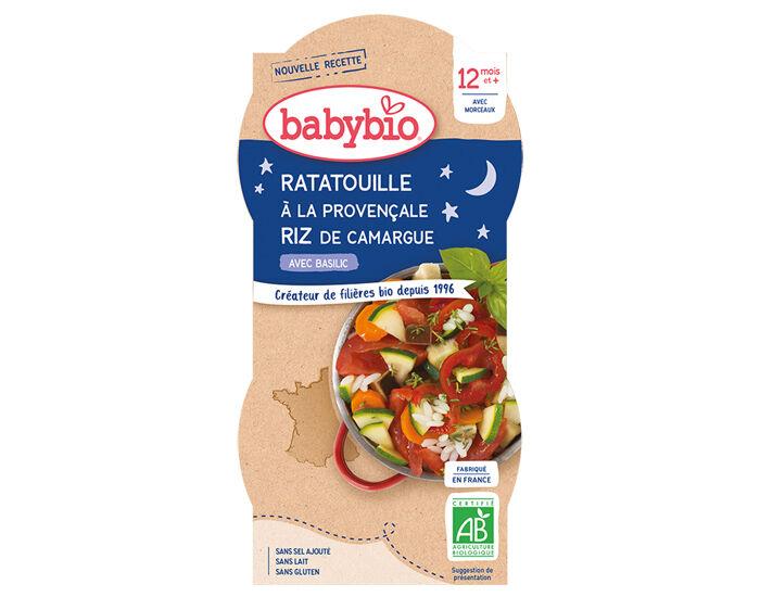 BABYBIO Bols Bonne Nuit - 2 x 200 g Ratatouille à la Provençale et Riz - 12 mois