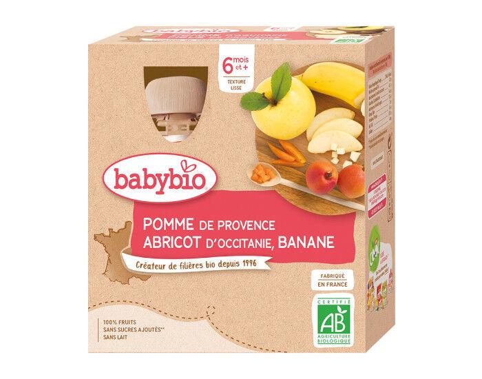 BABYBIO Gourdes - 4x90g - Dès 6 mois Pomme - Abricot - Banane