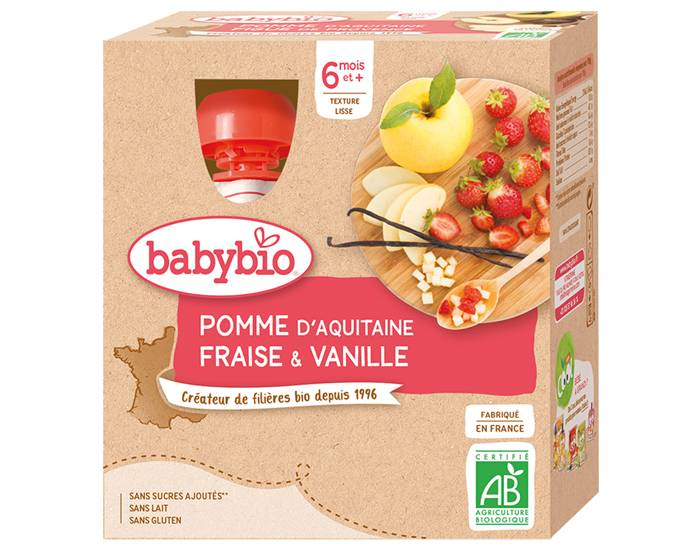 BABYBIO Gourdes - 4x90g - Dès 6 mois Pomme - Fraise - Vanille