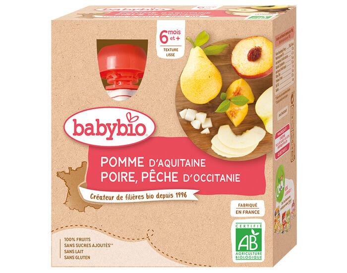 BABYBIO Gourdes - 4x90g - Dès 6 mois Pomme - Poire - Pêche