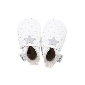 BOBUX Chaussons Bébé Soft Soles en cuir - Blanc étoiles argentées NB