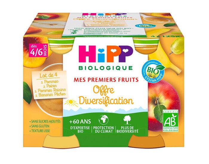 HIPP Mes Premiers Fruits - Pack Diversification - 4 x 125 g Pomme Poire Banane-Pêche Pomme-Raisin