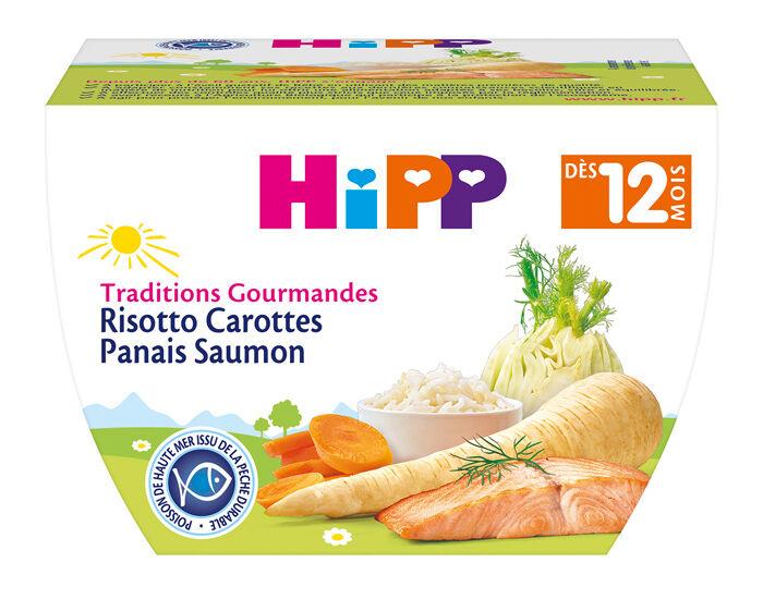 HIPP Bol Traditions Gourmandes - 220g Risotto Carotte Panais Saumon - 12M