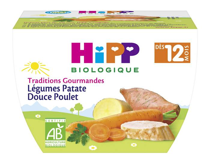 HIPP Bol Traditions Gourmandes - 220g Légumes Patate Douce Poulet - 12M