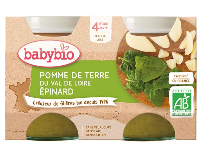 BABYBIO Mes Légumes - 2x130g Pomme de Terre - Epinards - 4 mois
