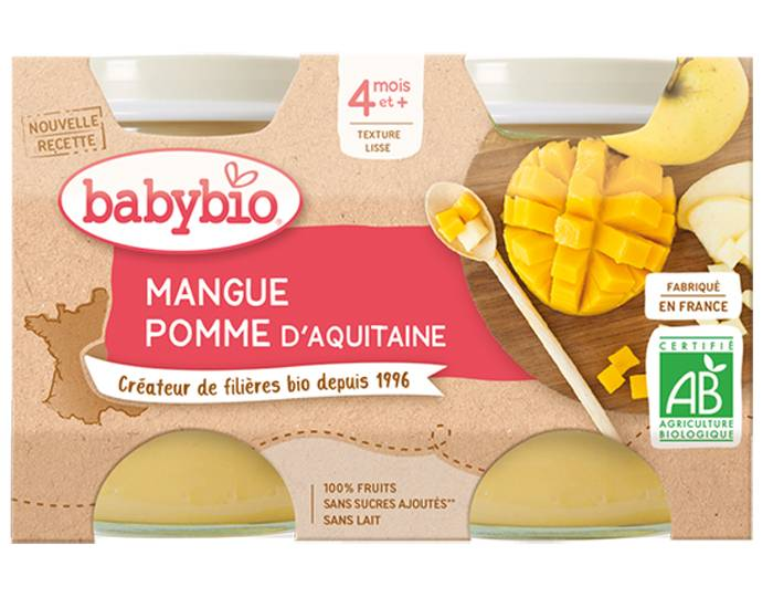 BABYBIO Mes Fruits - 2 x 130 g Pomme d'Aquitaine et Mangue - 4 mois