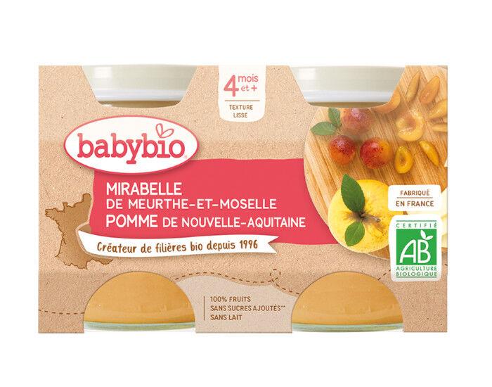 BABYBIO Mes Fruits - 2 x 130 g Mirabelle de Lorraine et Pomme d'Aquitaine - 4 mois