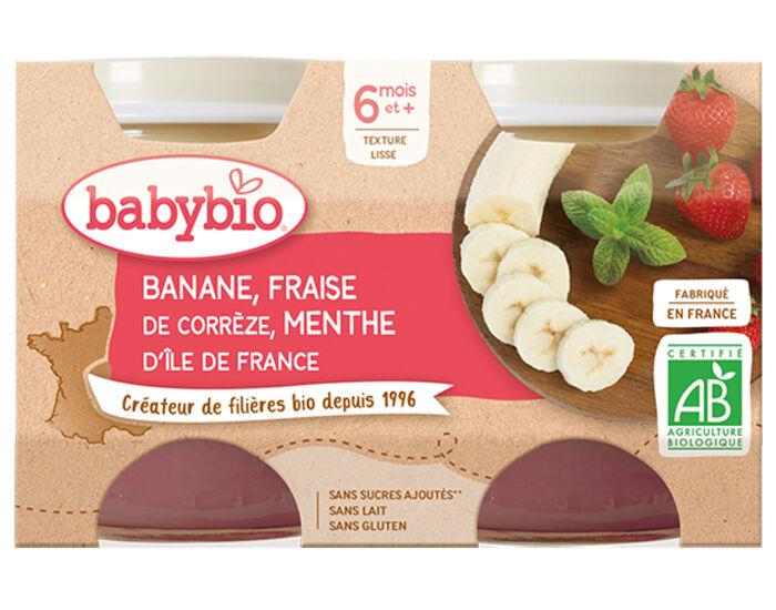 BABYBIO Mes Fruits - 2 x 130 g Banane Fraise Menthe - 6 mois