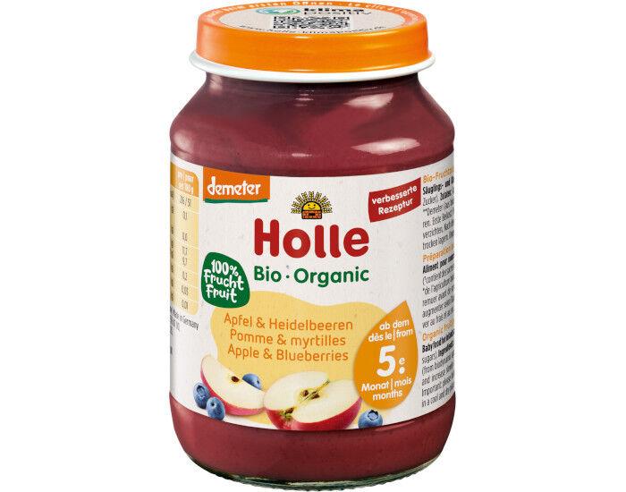 HOLLE Petit Pot de Fruits - 190 g Pommes - Myrtilles - 4M
