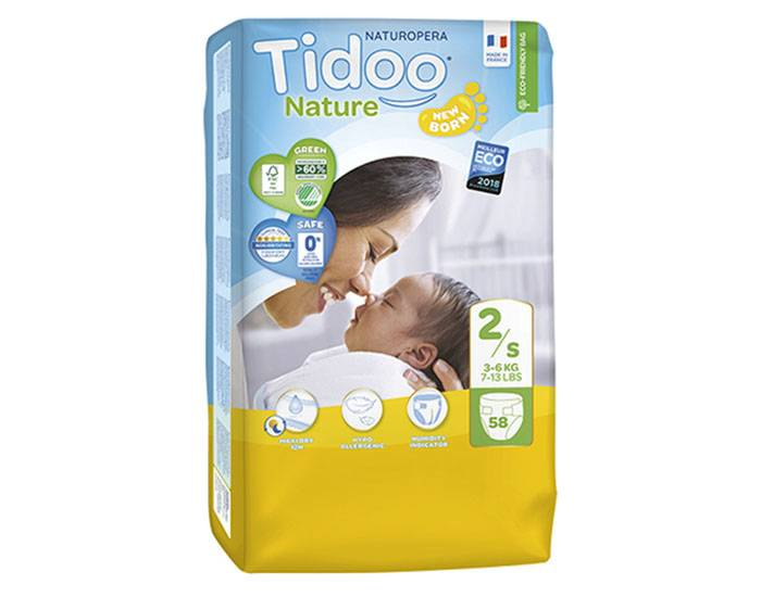 TIDOO Pack x3 Couches Écologiques Nature T2 / 3-6 kg / 3x58 couches