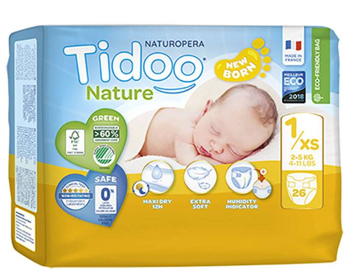 TIDOO Pack x3 Couches Écologiques Nature T1 / 2-5 kg / 3x26 couches