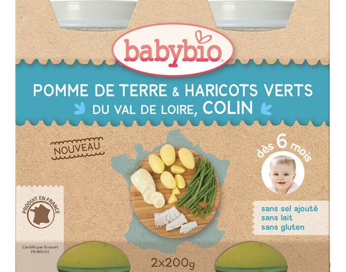 BABYBIO Petits Pots Menu du Jour - 2 x 200g - Dès 6 Mois Légumes Colin Sauvage