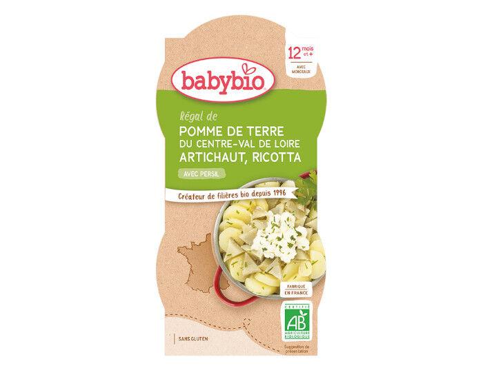 BABYBIO Bols Menu Mes Légumes - 2x200g  Régal Pommes de Terre Artichaut Ricotta - 12 mois