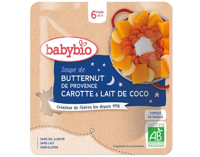 BABYBIO Sachet Menu Bonne Nuit - 190g - Dès 6 Mois Soupe Butternut de Provence Carotte et Lait de Coco