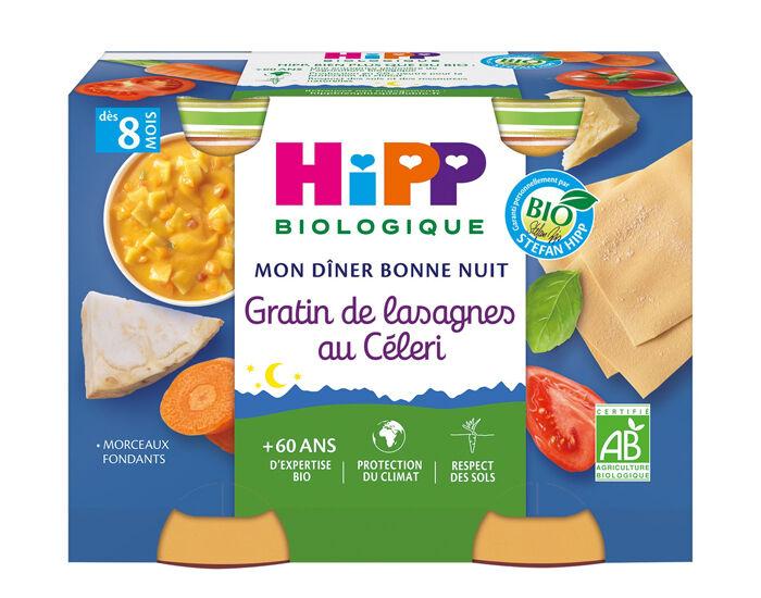 HIPP Mon Diner Bonne Nuit - 2 x 190 g Gratin de Lasagnes au Céleri - 8M