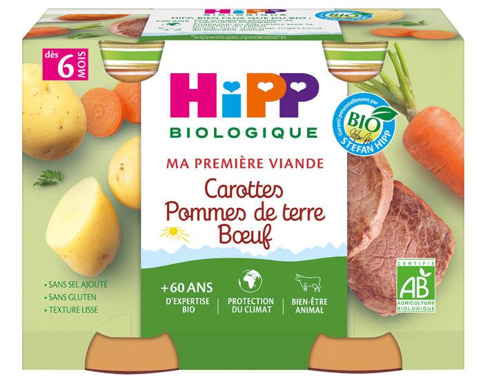 HIPP Ma Première Viande -  2 x 190 g Carottes - Pommes de terre - Boeuf AA - 6M
