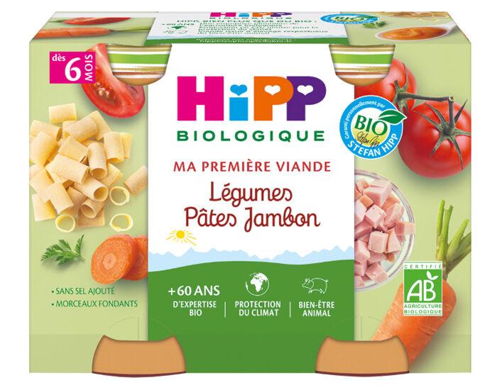 HIPP Ma Première Viande -  2 x 190 g Légumes - Pâtes - Jambon - 6M